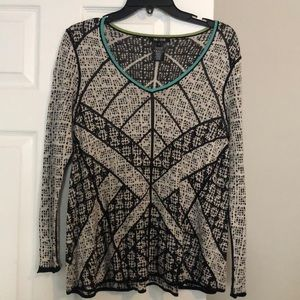 NWOT Nic+Zoe print contrast sweater XS